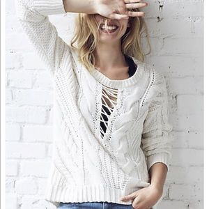 Express Cream Cable Knit Sweater